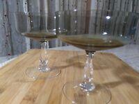 Vintage Champagne Stemware Crystal Noritake Smoke Colored Set of 2