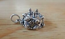 Sterling Silver 3D 10x15mm 3gram 3 Candle Decorated Birthday Cake Charm hollow