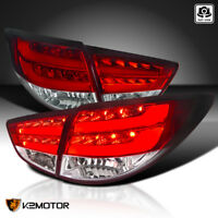 For 2010-2012 Hyundai Tucson Red/Clear LED Bar Rear Tail Lights Brake Lamps Pair