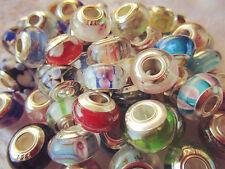 30PCS Silver Single Core Murano Lampwork Glass Beads for European Charm Bracelet