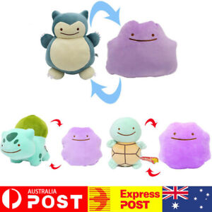 Pokemon Ditto Snorlax Squirtle Transform Reversible 35cm Plush Teddy Soft Toy