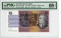 Australia 5 Dollar 1983 Pick# 44d R208 PMG Superb Gem UNC 68 EPQ