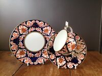 GORGEOUS c1877-91 ANTIQUE THOMAS BEVINGTON IMARI TRIO - CUP SAUCER & SIDE PLATE