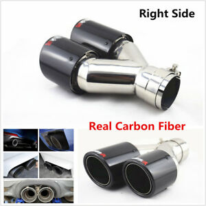 Glossy Carbon Fiber 63mm-89mm Car Exhaust Dual Pipe Tail Muffler End Tip -Right