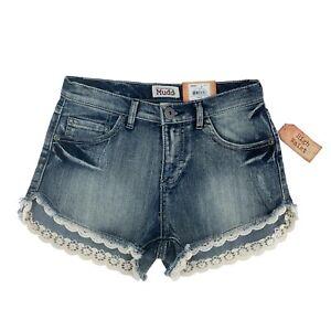 "Mudd Women Shorts, High Waist Cut Off Lace Hem Jean Denim 3"" Inseam, Size 3"