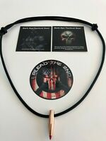 1 Paracord HOG TOOTH (.30 Cal  Red Tip)  Necklace + 1 Decal...Black