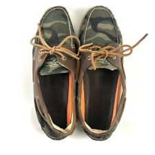 Sperry Top-Sider Mens Boat Deck Shoes Green Camouflage Canvas Lace Up 12 M