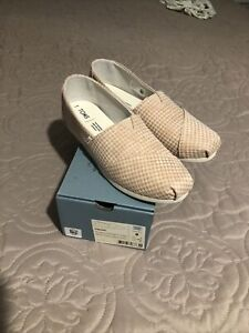 New Toms Desert Tan Mini Houndstooth Classic Shoes Women Sz 8