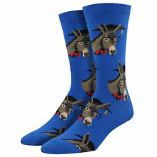 Socksmith Men's Crew Socks Smart Ass Educated Donkeys Blue Novelty Footwear