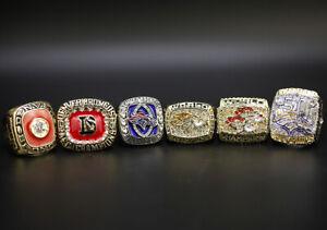 6 Pcs Denver Broncos Championship Ring with Display Box Super Bowl