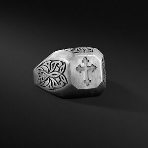 Mens Cross Silver Ring Sterling Signet Ring Oxidized Ring For Man Cross Gift Him