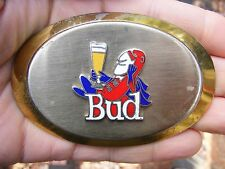 Vtg BUD MAN Belt Buckle BEER Budweiser Brewery Budman Chrome LOGO Enamel RARE VG