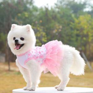 Pet Clothes Puppy Small Dog Cat Princess Tutu Skirt Lace Cotton Sweet Apparel ^