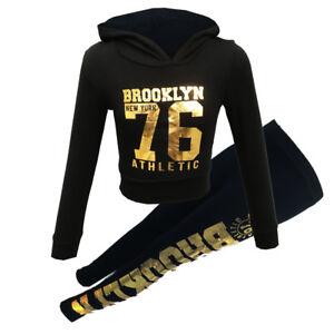 New Girls Kids Brooklyn Gold Black Hooded Tracksuit Set Age 7 8 9 10 11 12 13