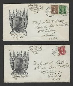 Canada 1937, Apr 1 King George VI Mufti Issue FDC's Flag & Portrait, B & W