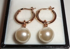 Rose Gold Plated Faux Pearl Drop Creole Hoop Earrings 28mm x 10mm.