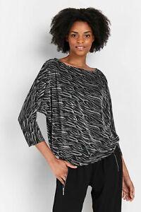 Wallis Womens Black Animal Print Shimmer Batwing Top Shirt Blouse Round Neck