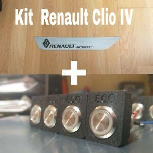🇮🇹KIT RENAULT CLIO IV  Tasto Eco Led + Piastra Carbon&Inox SCONTO RSTuning GT
