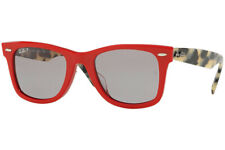 RAY-BAN WAYFARER SHY RED TORT POLAR GREY SUNGLASSES RB2140F 1243P2 NEW ASIAN FIT