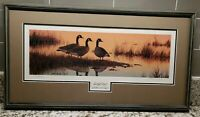 "William Redd Taylor Signed Numbered Print Framed Matted 13"" x 24"" Canada Geese"