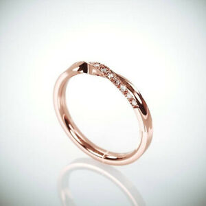 Wedding Engagement Stackable Ring Natural Diamond Solid 18 CT Rose Gold 2.5 Gram