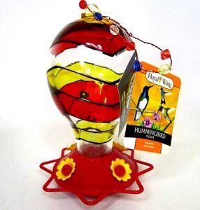 Hummingbird Feeder Glass Hot Air Balloon Humming Bird Bee Resistant 32 oz.