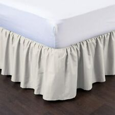 Ivory Bed Skirts Ruffle Bedskirt Split Corner Easy Fit Style Queen/King All Size