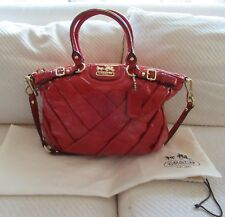 NWT Coach Madison Sophia Diagonal Pleated Patent Leather Satchel/Ruby- Rare $428