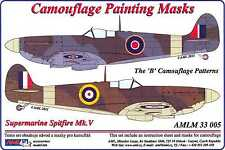 AML Models 1/32 CAMOUFLAGE PAINT MASKS SUPERMARINE SPITFIRE Mk.V B Patterns