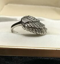 Unique 925 Silver CZ Angel Wing Design Engagement Ring