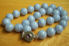 "Fabulous Estate Heavy Sterling Blue Lace Agate Bead Necklace 18 1/2"" VERY RARE"