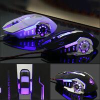 Ergonomic Pro Wired LED Light 4000DPI Optical Usb Gamer Gaming Mouse Metal