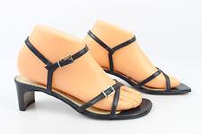 Sandales à Talons SAN REMO Cuir Noir T 38 Très Bon Etat