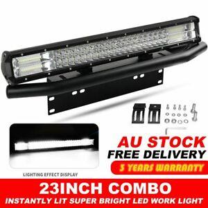23inch CREE LED Light Bar SPOT FLOOD Work Driving Bars & 23'' Number Plate Frame