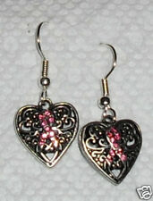 Cancer Awareness Heart Earrings with Pink Rhinestone Ribbon ~ Handcrafted in USA