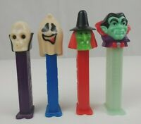 Lot of 4 Halloween Pez Dispensers Witch, Dracula, Ghost, & Skull