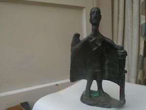 Interesting antique solid bronze figure with cloak & staff  UNUSUAL BRONZE CURIO