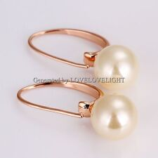 New Women's Stud Earrings Rose Gold Filled White Freshwater Pearl Jewelry