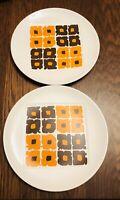 "Johnson Bros Snowhite Tropez 2- Dinner Plates 10 3/4"" MCM Orange Brown Blocks"