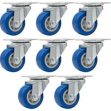 "Lot of 8, 1.5"" Low Profile Casters Wheels Soft Rubber Swivel Caster Blue"