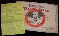 Walt Disney Handwritten Notes Mickey Mouse Club Talent Certificate 1955 2003