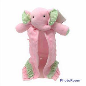 NWT MUDPIE Pink Minky Dot Elephant Security Blanket Plush Green Frill Girls Baby
