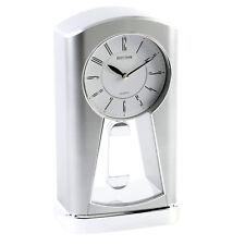 Rhythm Retro No Ticking Silent Mantel Clock Chrome Swinging Pendulum Mantle