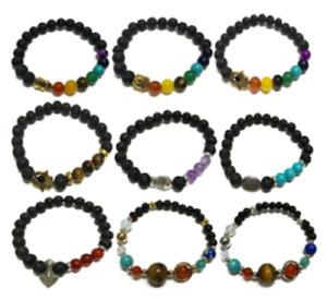 Lava Stone Bracelets Crystals Gems Beads Stones Symbols Elasticated One Size
