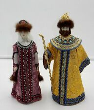 "PAIR OF RUSSIAN KING TSAR NICHOLAS & QUEEN 10"" PORCELAIN DOLLS W/ REAL MINK HATS"