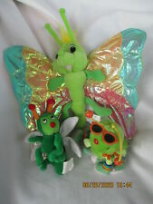 Insect Plush Toys Butterfly Caterpillar Bug lot of 3