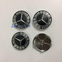 4PCS 68mm Black/Chrome Wheel Centre Hub Caps For Mercedes Benz Wheel Center Caps