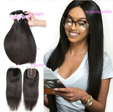 150G Brazilian 100% Remy Human Hair Weave 3Bundle Straight With 4*4 Lace Closure
