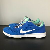 NIke Women's Zoom Fit  Running  704658-401 Soar Blue White Green Glow Size 8