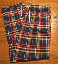 Original Penguin Mens Sleepwear Flannel Pants Orange Blue Multi-Color Plaid  XL 7e47c2502
